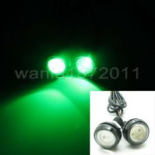 2 x Green DC12V 9W Car Eagle Eye LED Daytime Running DRL Light 23mm Black Case