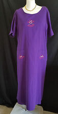 Womens Long Denim Dress 2X Purple Short Sleeves Cotton Embroidered NWT