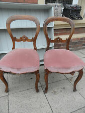 Delivery £20 PAIR of Victorian WALNUT Balloon Back Carved Dining Hall Chairs