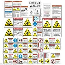 Excavator SAFETY DECALS STICKERS Case Takeuchi Bobcat Cat KomatsuKobelco Hitachi