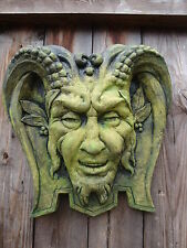 PAN GREEN MAN WALL PLAQUE PAGAN WICCA DECORATIVE STONE PLAQUE 33cm HORNED GOD