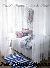 IKEA ALVINE SPETS Lace Sheer Curtains 2 Panels Off White 57X98 Bed Canopy FS NEW
