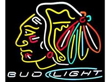 "New Bud Light Chicago Blackhawks Hockey BEER BAR Neon Sign 24""x20"""