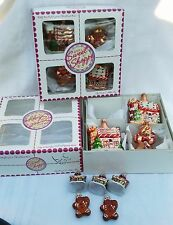 KURT ADLER SWEET SHOPPE GINGERBREAD COOKIE MAN GLASS CHRISTMAS 12 TREE ORNAMENTS