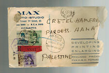 1943 Alexandria Egypt Censored Commercial Cover to Hanna Palestine