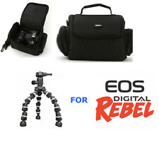 CAMERA CASE BAG + TRIPOD FOR CANON EOS REBEL T1 T2 T3 T4 T5 T6 SL1 1100D 1000D