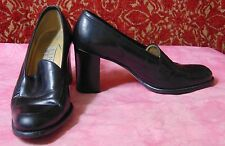 "NINE WEST black loafer stack heel shoes 3"" (TC2B-0DH6G)"