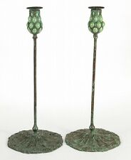 TIFFANY-STYLE QUEEN ANNE'S LACE PAIR OF CANDLESTICKS Lot 201
