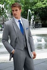 Light Grey Men Suits 3 Piece Wedding Groom Tuxedos Bespoke Groomsmen Formal Suit