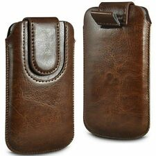 Brown Magnetic PU Leather Pull Tab Case Cover For HTC Windows Phone 8S
