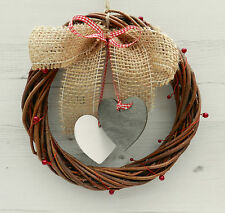 "8"" Shabby Chic Wicker Willow Wreath with Hearts. Country Cottage Home Decor."