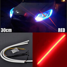 New 2Pcs RED 30CM Soft Guide Car Motorcycle LED Strip Light Lamp DRL Light JB-5