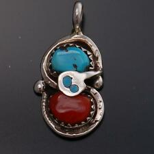 Sleeping Beauty Turquoise and Coral Snake Pendant by Effie Calavaza- UA21Y