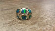 14K White Gold Tanzanite Opal 28 Small Diamonds Size 7 Ring Beautiful EUC