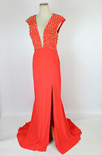 New Genuine Jovani 92083 Orange Nail-head Evening Pageant Gown $450 Size 2