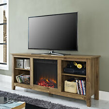 TV Stand Fireplace Barnwood Entertainment Center Electric Media Console Storage