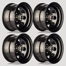 """Set 4 15"""" Vision 85 Soft 8 Gloss Black Steel Wheels 15x8 6x5.5 -19mm 6 Lug"""