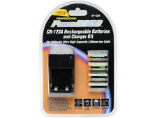 Power2000 4 CR-123A Lithium Rechargeable Batteries and Rapid Charger, BRAND NEW