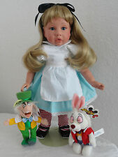 "Alice in Wonderland 18"" Girl Friend Doll AV Button -w. Disney Rabbit+Mad Hatter!"