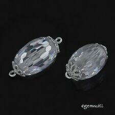 Clear Cubic Zirconia In Sterling Silver Oval / Barrel Connector Bead 1PC #98081