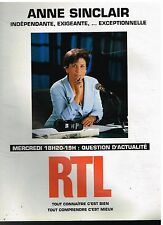 Publicité Advertising 1994 Radio RTL avec Anne Sinclair