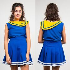 WOMENS VINTAGE CHEERLEADER TOP SAILOR COLLAR USA AUTHENTIC BLUE 90'S STYLE 12