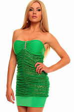 Abito ricamato pizzo trasparente Bandeau Green Mini Dress with Animalistic Touch