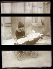 PLAQUE VERRE PHOTO NEGATIF circa. 1920 BEBE FRERE LANDAU baby & brother     (B2)