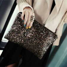 GLITTER BLACK SEQUIN CLUTCH EVENING PARTY HANDBAG ENVELOPE BAG PURSE