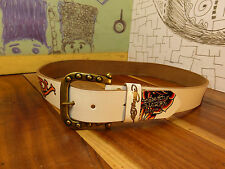 Don Ed Hardy Designs White Leather Roses & Snakes Belt Size L #EH3202