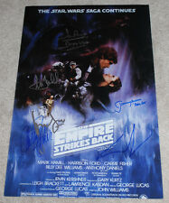 STAR WARS: THE EMPIRE STRIKES BACK SIGNED MOVIE POSTER w/COA X6 GEORGE LUCAS++