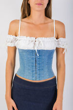 Corset Bustier White Blue by Cinema Top Casual and Sexy Wear