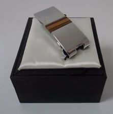 TIE RACK silver effect / tiger's eye semi precious stone money clip NEW W/ BOX!
