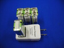 9v Smart Charger with 4 of Hitech Lion720mAh*Rechargeable*Tech-USA/Taiwan*CE UL