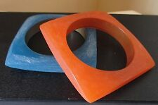 LOT of 2 Vintage Style Geometric Square Bangle Bracelet Orange Blue Resin? Set