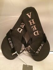 Beautiful! Deha Flat Open Toe Thong Straps Black Flip Flops Size 39EU 9US Italy