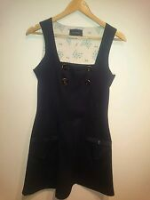River Island Navy Button Detail Pinafore Dress Size 12