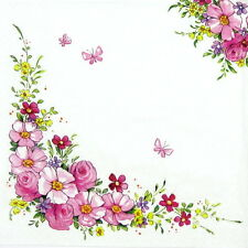 4x Single Lunch Party Paper Napkins for Decoupage Decopatch Craft  Cute Flowers
