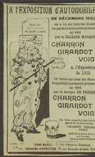 PUTEAUX AUTOMOBILES CARS CHARRON GIRARDOT VOIGT CLOWN PUBLICITE 1903