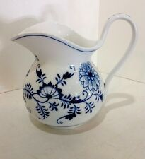 """meissen blue onion pitcher. antique. 7 3/4"""" High. Crossed Swords Germany. Rare"""