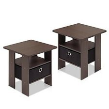 Furinno Petite End Table Bedroom Night Stand, Set of Two 2-11157DBR Night Stand