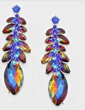 "3"" Long Silver Royal Blue Multi Color AB Austrian Crystal Pageant Earrings"