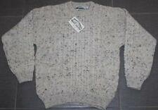 Men's ARAN CRAFTS Irish Merino Wool Fisherman Kint Sweater Beige NWT Sz. M