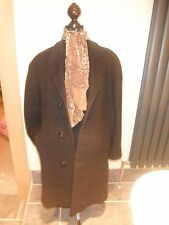 "XL John Collier Gent's Vintage Over Coat. Dark Grey & Black Plaid 24"" Pit-Pit."