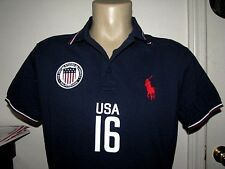 $99 Custom Fit (M) POLO-RALPH LAUREN Navy Mesh MID PONY & USA FLAG Polo Shirt
