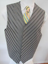 Sz 44 XL Gray Diagonal Striped #218 Mens Steampunk Indie Suit Vest Waistcoat