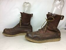 VTG  MEN DOUBLE WEAR SHOE CO. WORK  (RED WING STYLE) BROWN BOOTS SIZE 11.5 D
