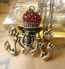 Cool Skeleton W/ Red Rhinestone Hat Pendant Sweater Chain Necklace/Bronze Tone