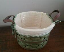 Longaberger 2005 Small Bushel Basket Leaf Green w/ Liner & Protector