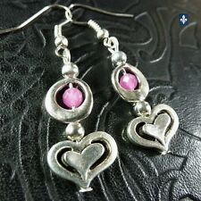 ♥  EASY SHIP TO USA  Lovely Pink Agate Plated Silver Heart Earrings